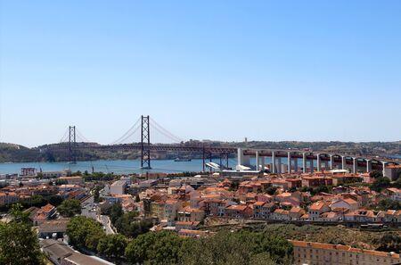 Lisbon, Portugal, 25th of April Bridge panorama photo