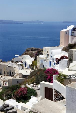 Santorini small white houses and streets             photo
