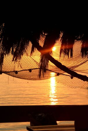 Relaxation on the beach: wonderful sea sunset with palm tree silhouettes and fishing nets  photo