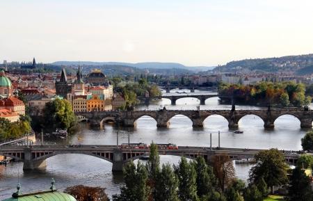 Wonderful panorama of Prague bridges
