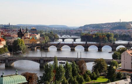 Wonderful panorama of Prague bridges   photo