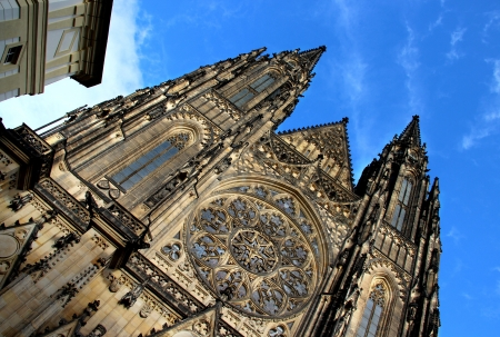 Prague castle Saint Vitus Cathedral, close-up view