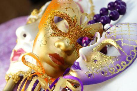Market with venetian carnival masks                photo
