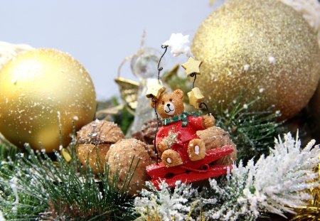 Big mix of Christmas decorations with cute bear photo