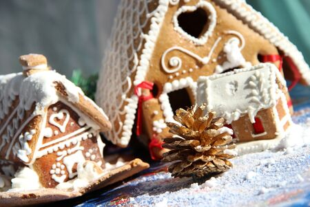 Christmas baked sweet houses and decorations Stock Photo