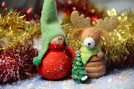 Christmas decoration – small funny boy with elk Stock Photo - 16004451