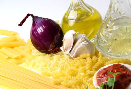 Pasta ingredients, olive oil and spices  Stock Photo