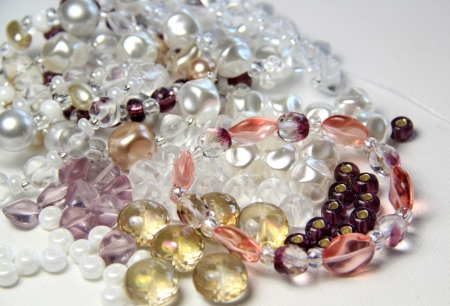 Big mix of beads and crystals for handmade bracelet knitting photo