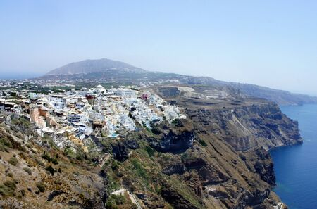 thira: Capital city of Santorini - Thira           Stock Photo