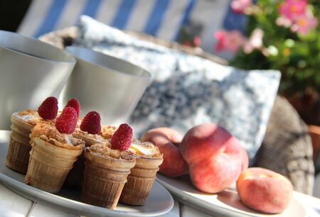 Tasty waffles and beautiful rich decorated terrace photo
