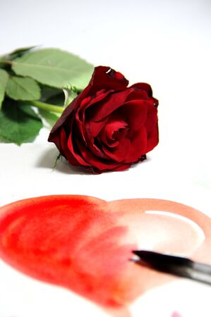 Valentine in handmade style and beautiful rose photo