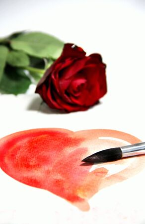 Valentine in handmade style and beautiful rose Stock Photo - 17451960