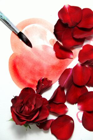 Valentine in handmade style and beautiful rose Stock Photo - 17451929