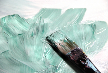 Oil picture painting and paintbrush Stock Photo - 17452013