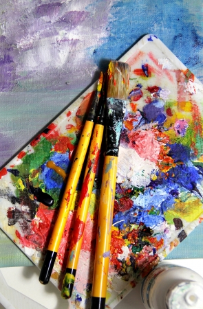 Mixing painting and paintbrushes Stock Photo - 17456571