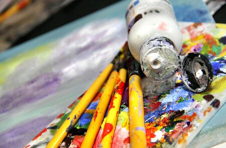 Mixing painting and paintbrushes  photo