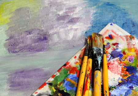 Mixing painting and paintbrushes  Stock Photo - 17452010