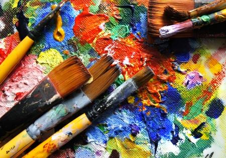cuadro abstracto: Mezcla de panits y pinceles Foto de archivo