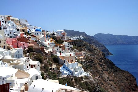 Cute white houses of Santorini, Greece     photo