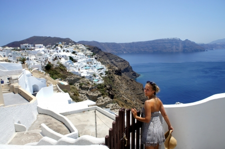 Young beautiful woman in Santorini photo
