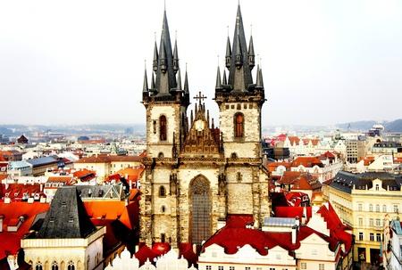 tyn: Beautiful bird eye Prague view and Tyn church