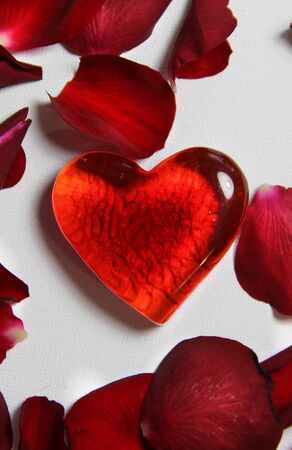 Beautiful Valentine composition of hearts and roses photo