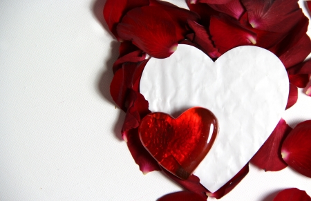 Beautiful Valentine composition of hearts and roses Stock Photo