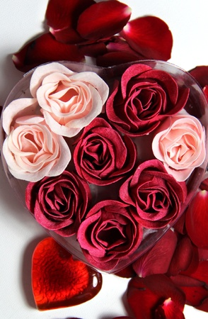 Beautiful Valentine composition of hearts and roses Stock Photo - 17698300