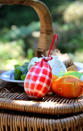 Mix of  beautiful handmade Easter colored eggs  photo
