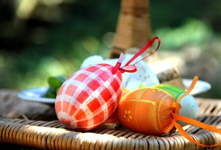Mix of  beautiful handmade Easter colored eggs  Stock Photo - 17699026