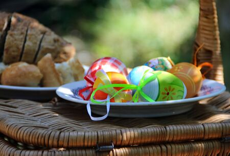 Mix of  beautiful handmade Easter colored eggs Stock Photo - 17699025