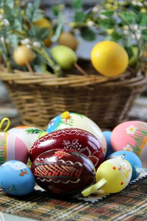 Mix of beautiful handmade Easter colored eggs Stock Photo - 17967932