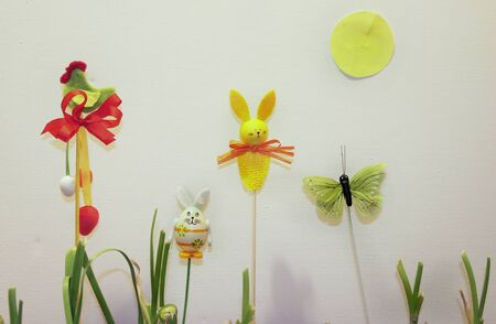 Mix of beautiful handmade Easter colored toys photo