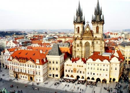Beautiful bird eye Prague view and Tyn church