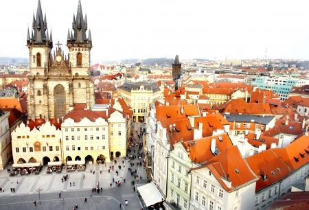 tyn: Beautiful bird eye Prague view and Tyn church           Stock Photo
