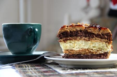 Beautiful well decorated glazed caramel cake Stock Photo