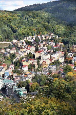 vary: Beautiful view of Karlovy Vary, Czech Republic Stock Photo