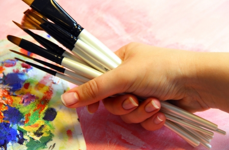 Big set of professional paintbrushes photo