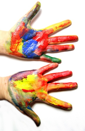 Beautiful vivid multicolored woman hands  photo
