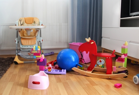 Beautiful children room with a lot of toys photo