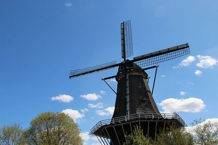 Beautiful view of Holland windmill and nature photo
