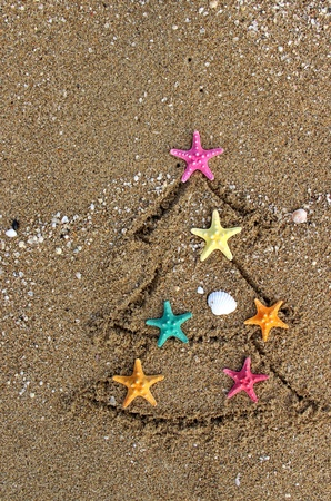 Christmas and New Year on the beach in creative style photo