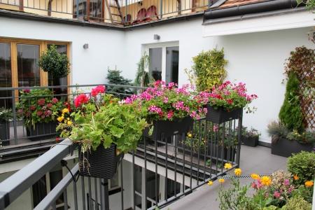 現代の不動産、たくさんの花と家テラス