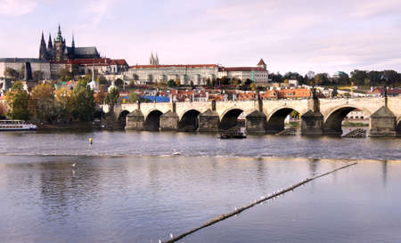 Beautiful panorama of  Prague Castle and Charles bridge, Czech Republic