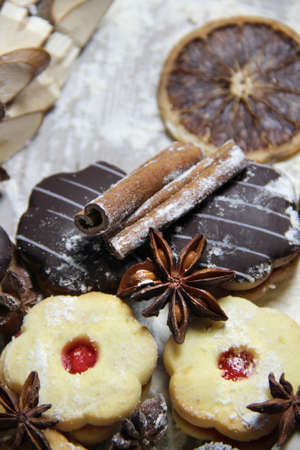 Mix of Christmas cookies with cinnamon, chocolate glaze and coconut photo