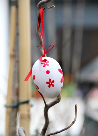 Mix of beautiful handmade Easter colored eggs hanging on the tree photo