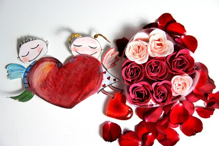 Valentine in handmade style and beautiful rose Stock Photo - 25122407