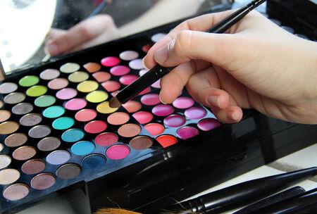 Professional makeup and makeup artist hand