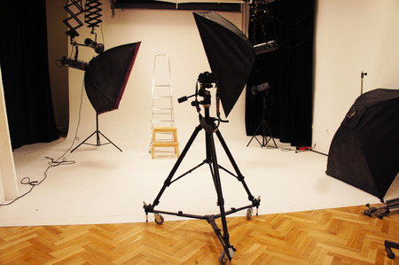 photography session: Big professional photo studio with expensive equipment