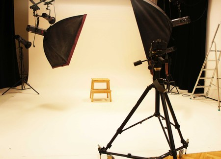 photography session: Big professional photo studio with expensive equipment SONY DSC                        Stock Photo